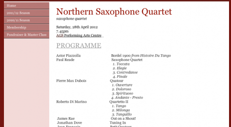 Northern Saxophone Quartet in Shropshire, TF10 7BD on 28/04/12
